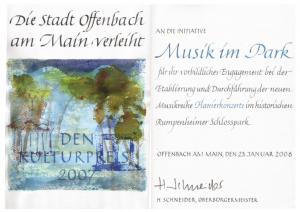 Urkunde Kulturpreis 2007 der Stadt Offenbach